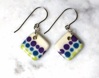Porcelain Earrings, Small Drop Earrings, Handmade Ceramic Earrings, Multi Color Earrings, Surgical Steel or Sterling Ear Wires, Pottery