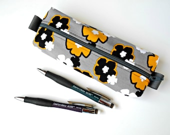 Fabric Pencil Case, Box Pencil Bag Pencil Pouch Box Zipper Pouch Backpack Organizer College Accessory Gift for Teenager Black Yellow