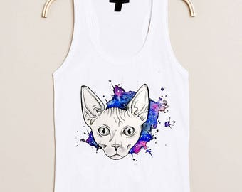 """T-shirt printed """"Siamese cat"""" watercolor"""