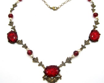 """Art Deco brass & carved red glass cabochon necklace  16"""""""