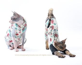 Sphynx Clothes with a Mermaid, Tattoo, Classic, Pinup, Kawaii and American Traditional design!  Cute, fun top for your cat. MTC