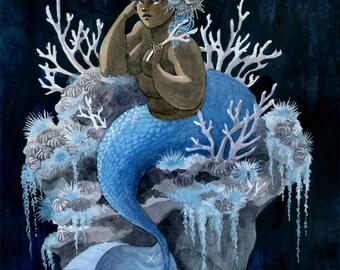 Antler Coral Mermaid - 8x10 print