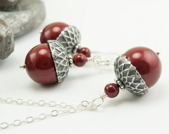 Acorn Necklace and Earrings with Bordeaux Swarovski Pearls - Sterling Silver - Bridesmaid Jewelry Set Burgundy Cranberry Acorn Jewelry Set