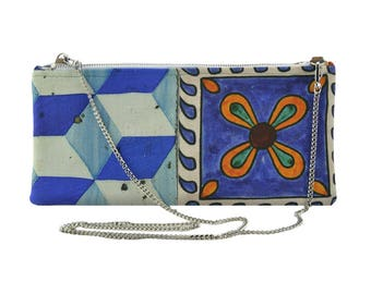 Minibag inspired to traditional Italian tiles, Mikibag, Made in Italy, Handpained bag, Handmade bag, Tiles inspired Clutch bag