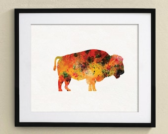 Buffaro Watercolor Painting  Nursery art Wall Art Wall Decor Art Home Decor Wall Hanging No.002