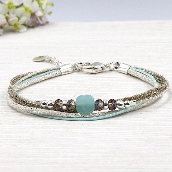 Multi strands String Bracelet swarovski crystal and amazonite gem stone