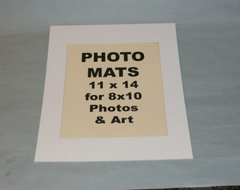 Photo Mat Kits White 11 x 14 for 8 x 10 Photos Quantity (12) with Backs and Bags