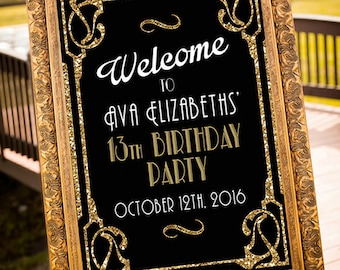 Welcome Great Gatsby Sign-  Welcome Sign - Gold - 1920's Party - Wedding Sign-Birthday Sign  Art Deco -Retro Sign-Digital Design - YOU PRINT