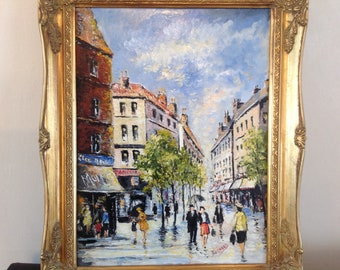 Oil Painting of a Continental Town Street Scene