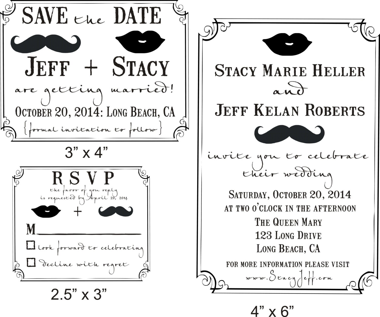 Fun Mustache and Lips Wedding invitation Rubber Stamp SET with