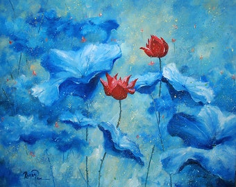 Original acrylic painting on canvas by Roger Pan, ''Red Lotus'', 24 X 30 inch