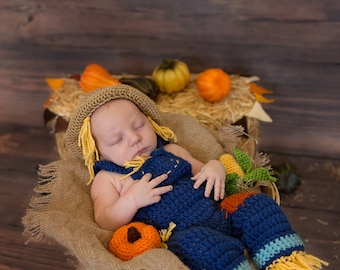 Instant Download PDF Crochet Newborn Scarecrow Hat and Overalls with Amigurumi Pumpkin and Corn, Baby Photo Prop Outfit, Halloween Costume