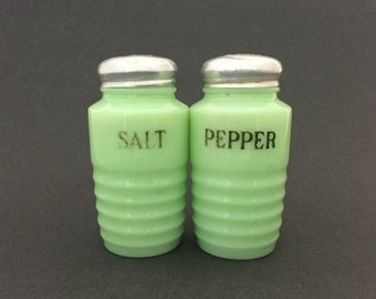 Vintage Jadeite Salt and Pepper Shakers Ribbed Jeanette Glass Farmhouse Kitchen Decor