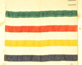 Very Rare Vintage 1915-Early 20's HUDSON'S BAY BLANKET / 4 Point / Made In England / Retro Collectable Rare