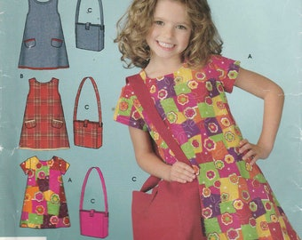 Girls Dress Pattern Purse Jumper Girls Size 3 - 4 - 5 - 6 - 7 - 8 Uncut Simplicity 4927