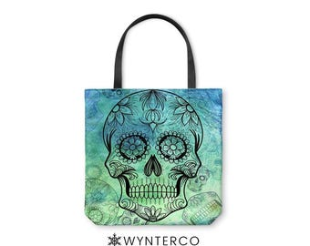 TOTE BAG - Sugar Skull Tote Bag - Green Pink Blue Purple, Skull Tote bag Yoga Tote Bag, Shoulder Carry Bag, Canvas Skull Bag, Muertos