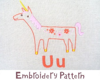 U Unicorn INSTANT DOWNLOAD PDF embroidery pattern
