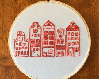 city scape embroidery