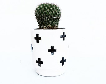 Plus Sign Black Cross Handmade Modern Ceramic Planter