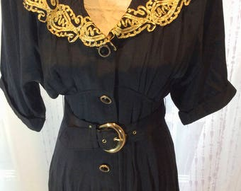 D Frank Rare Vintage Black & Gold Embroidery Dress