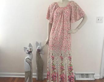 Vintage NOS Calico Caftan Maxi Dress OS