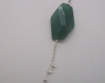 Green Aventurine and Sterling Pendant