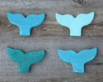 Whale Tail Magnets & Ornaments- Nautical Decor Made from Reclaimed Wood, Assorted Colors Available