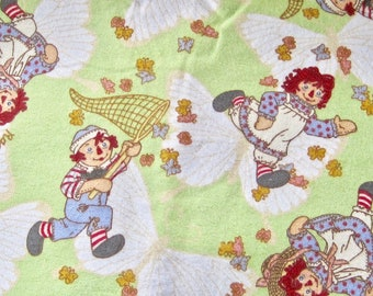 Raggady Ann and Andy Catching Butterflies Flannel Fabric