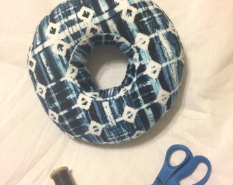 Piercing Pillow - Blue & White Geometric/Stripes, Super Soft Flannel - Cartilage Piercing Pillow - Donut Pillow