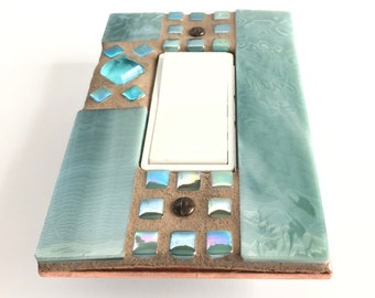 Decorative Light Switch Cover, Unique Switch Cover, Green Stained Glass, Beach House Decor, Glass Art, Light Switch Plate, Mosaic Art, 8999