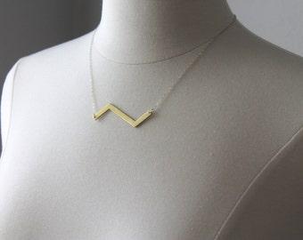 Brass Zig Zag Necklace  Brass Boho Necklace