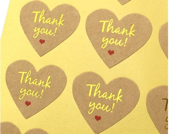 Gold Thank You Sticker - Thank You Stickers - Heart Stickers - Kraft Stickers, Set of 16