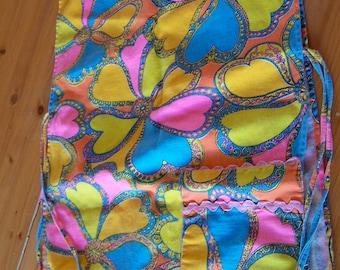 bright fun flowers vintage apron