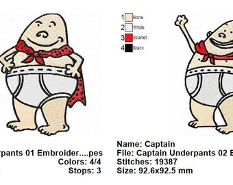 2 Captain Underpants Embroidery Designs