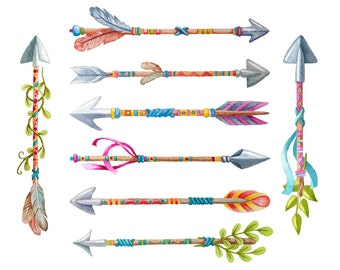 8 Tribal Arrows Clipart - Watercolor - Arrows Vector, Clip Art, Tribal Arrow Clipart, Arrows Watercolor