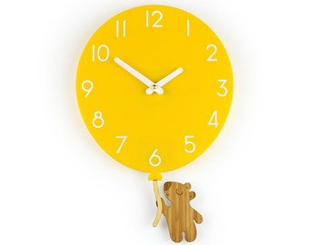 Teddy Bear & Yellow Balloon - Yellow Balloon Wall Clock - Children's Room Decor - Nursery Decor - Baby Shower Gift - Simple Wall Clock