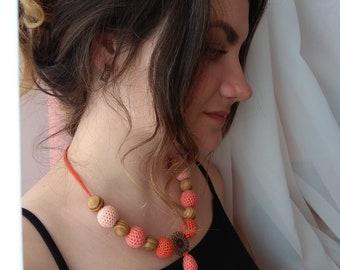 Pendant Crochet Pendant Necklace Pendant for women Crocheted jewelry Women's Necklace, Crochet Necklace,Coral Ornaments,  Wood Beads