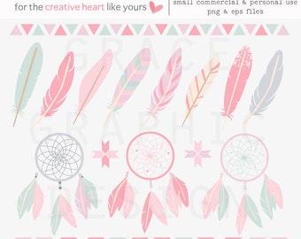 Boho Tribal Clipart Set, Feather Clipart, Dreamcatcher Clipart, Tribal Border Clipart, Commercial Use Clipart Set, Pink Boho Feather Clipart