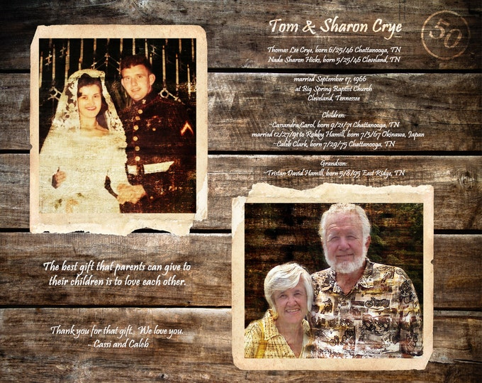 Parents 50th Anniversary Gift Parents Anniversary Gift Custom Gifts For Parents Home Decor Golden Anniversary Wedding Anniversary Gift 16x20