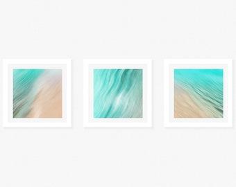 Set of 3 / 12x12 / Beach / Sand Aquatic / Ocean / Summer / Surf / Neutral / Florida / Fine Art Print