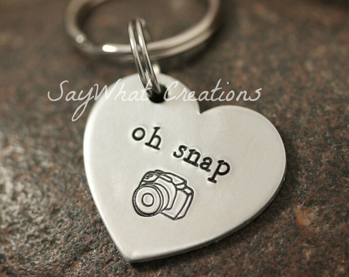 Hand Stamped Oh Snap Photographers Camera Key Chain