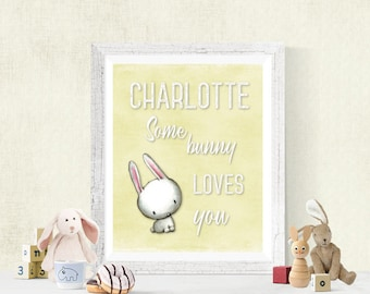 Personalized SomeBunny Loves You Nursery Digital Print, Baby Decor, Download, Boy's Room or Girl's Room Wall Art, Woodland Bunny, 8x10 #2