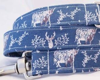 Handmade blue stag dog lead
