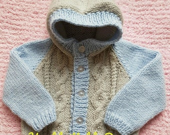 Hand Knitted Baby Jacket, Baby Hooded cardigan, Baby hooded jacket, Baby cable knitting cardigan
