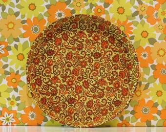 Vintage Retro Orange and Brown Floral Paisley Tray Campervan Kitsch