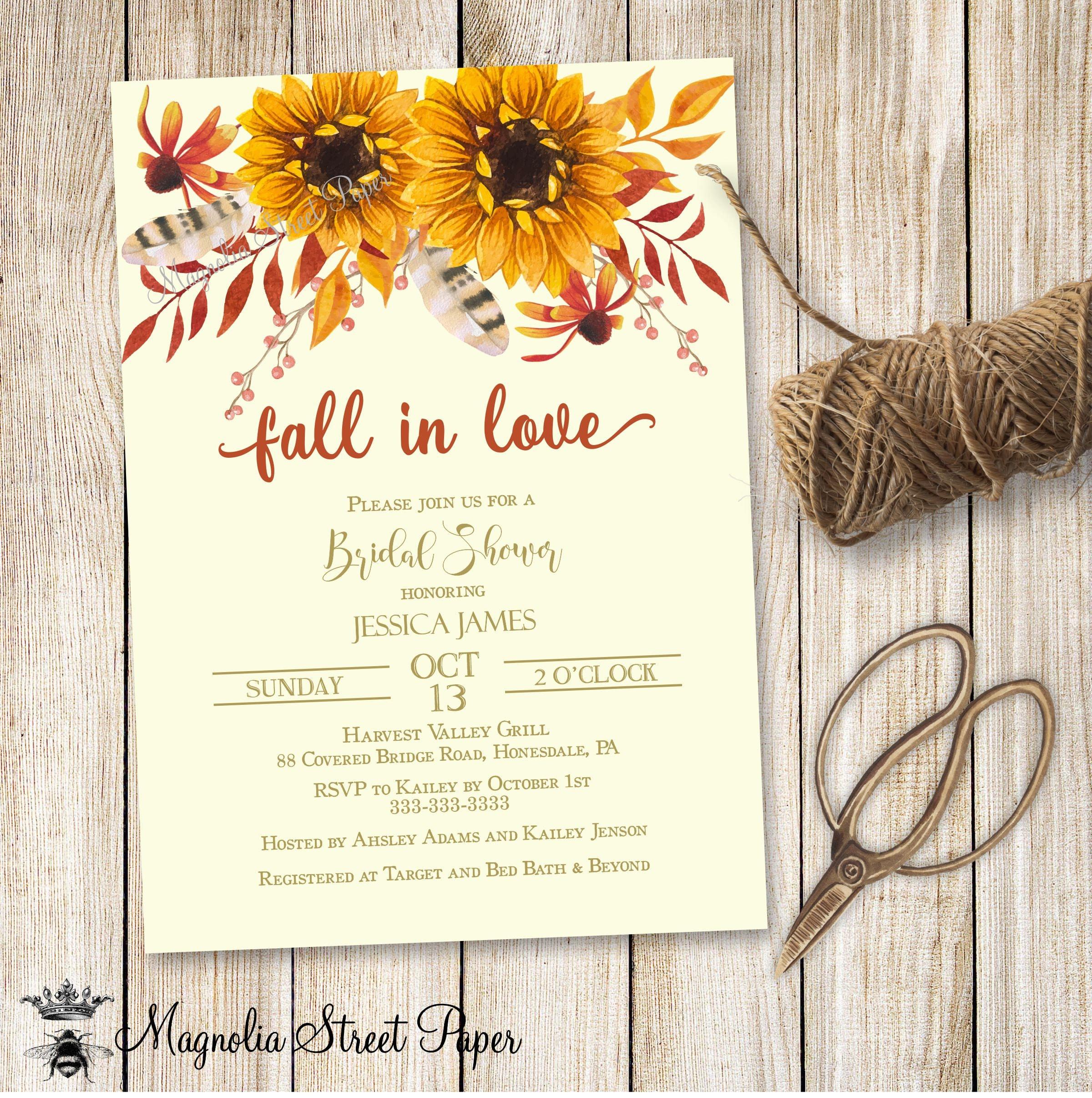 Fall in love bridal shower invitation sunflower bridal shower zoom filmwisefo Gallery