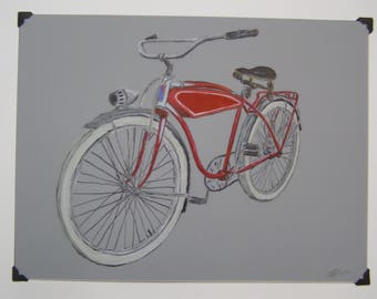 Colored pencil on mylar drawing of vintage bike original art work