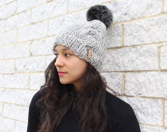Women's winter knit hat, Cable knit hat, Faux fur pom pom hat with knit cables - The Kyoto- Gift for her, Grey knit hat