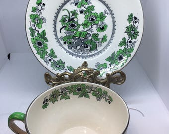 """RARE Mason's Ironstone Large Breakfast Cup & Saucer With Green and Black Oriental """"Fence"""" Pattern Decoration Excellent Condition"""