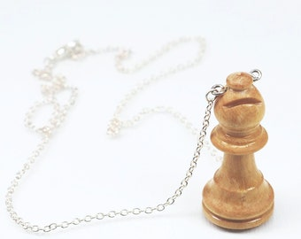 Chess Piece Necklace- Wood White Bishop Necklace, Upcycled Jewelry, Chess Jewelry, Chess Necklace, Chess Piece Pendant, Chess Player Gift